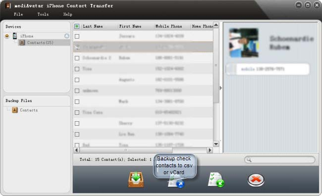 backup iPhone contacts to csv